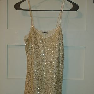Express gold sequin dressy tank top